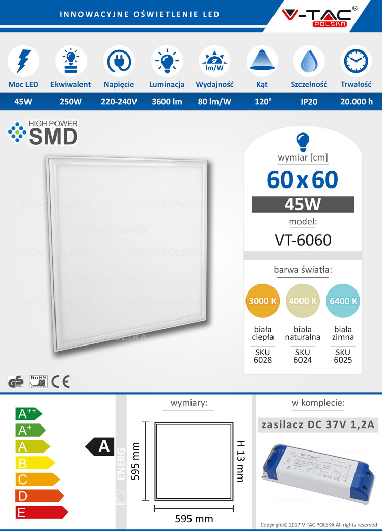 Panel LED 60x60 45W 3600 lm VT-6060 V-TAC POLSKA