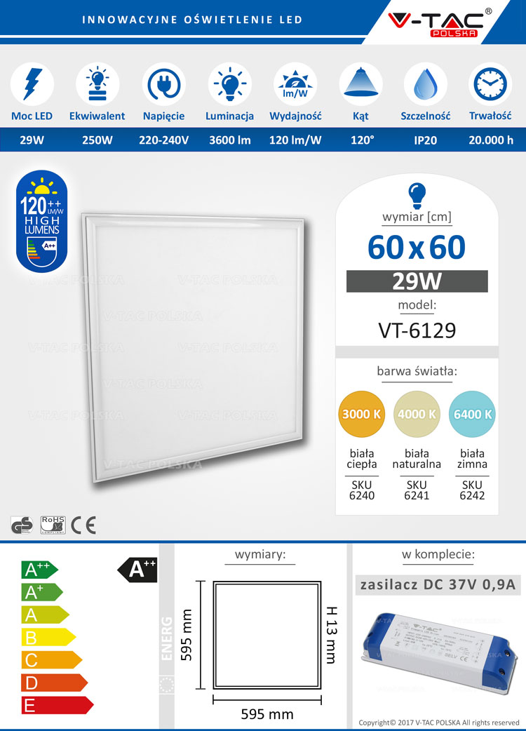 Panel LED 60x60 29W 3600 lm VT-6129 V-TAC POLSKA