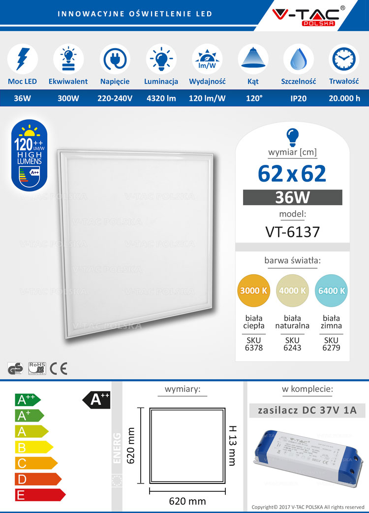 Panel LED 62x62 36W 4320 lm VT-6137 V-TAC POLSKA
