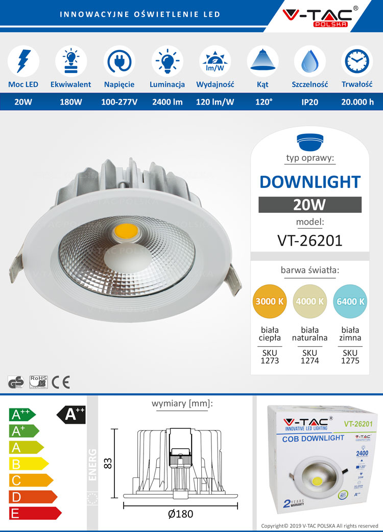 Downlight LED VT-26201 20W 2400 lm www.energomania.pl V-TAC POLSKA