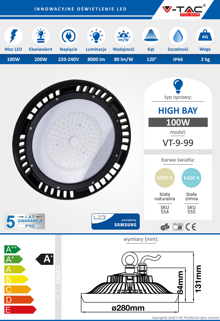 High Bay LED SAMSUNG VT-9-99 100W 8000 lm V-TAC POLSKA