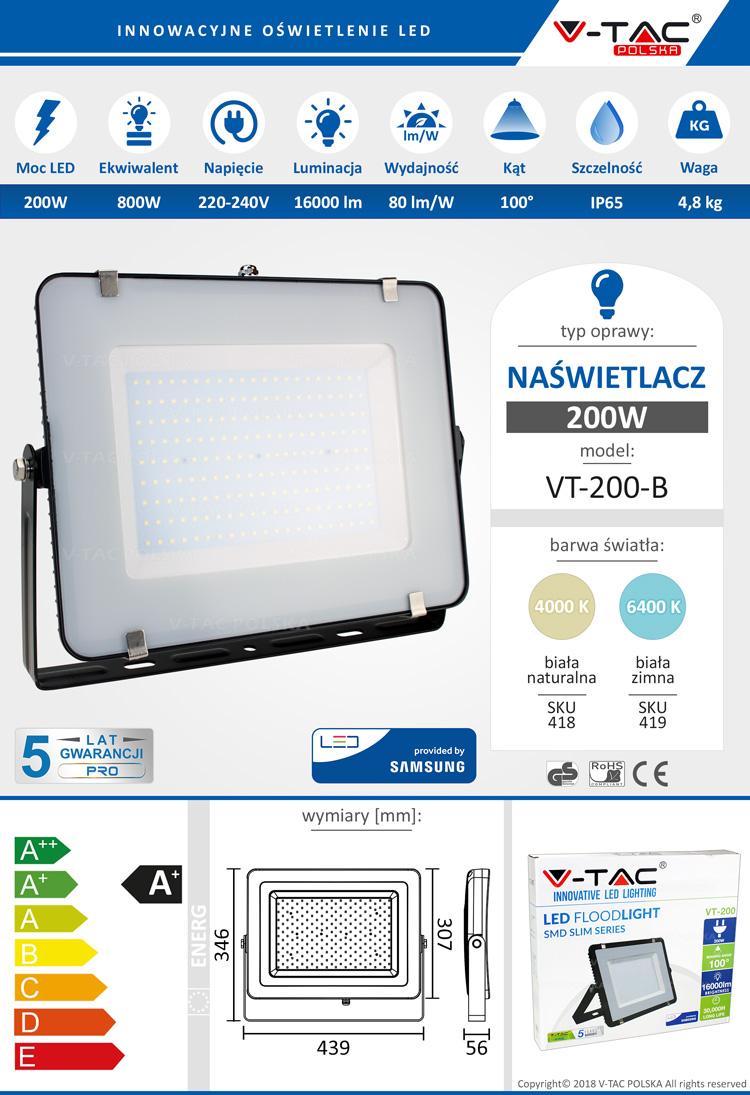 Naświetlacz LED 200W 16000lm VT-200 SAMSUNG