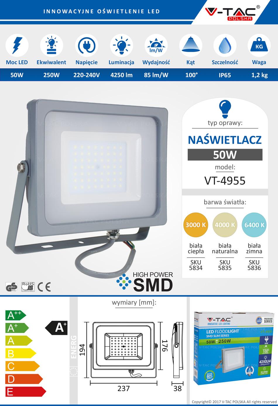 Naświetlacz LED 50W 4250lm VT-4955