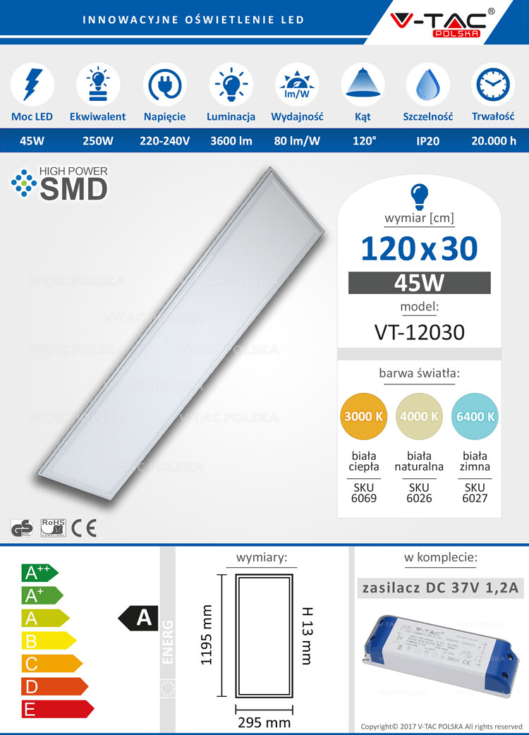 Panel LED 120x30 45W 3600 lm VT-12030 V-TAC POLSKA