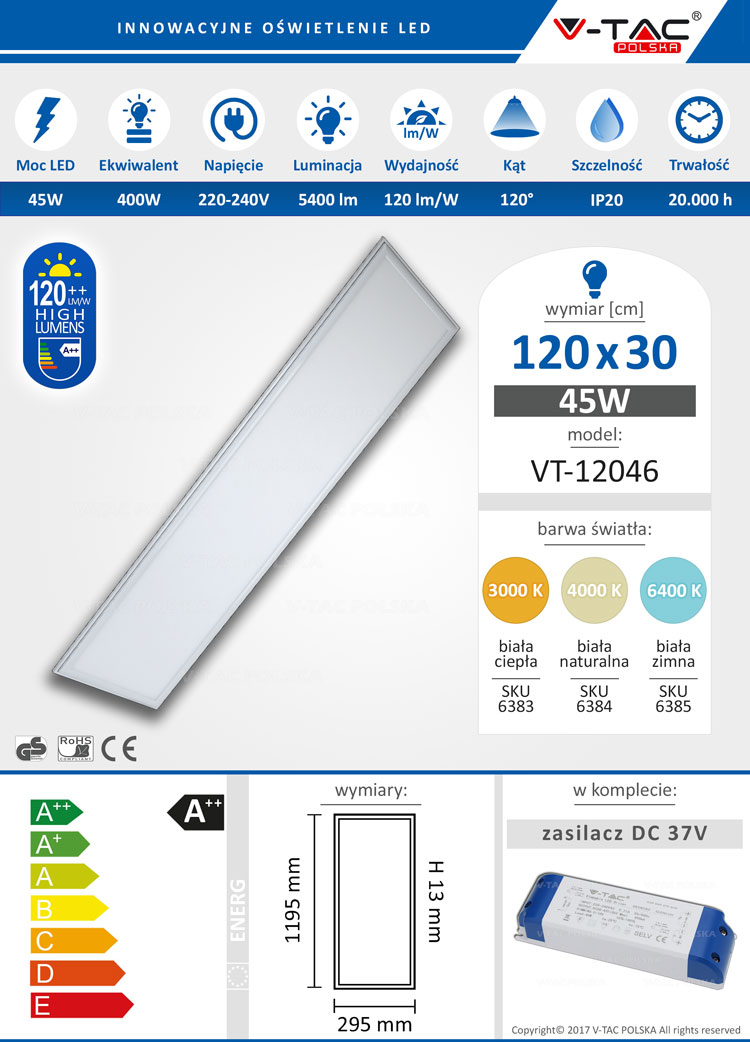 Panel LED 120x30 45W 5400 lm VT-12046 V-TAC POLSKA