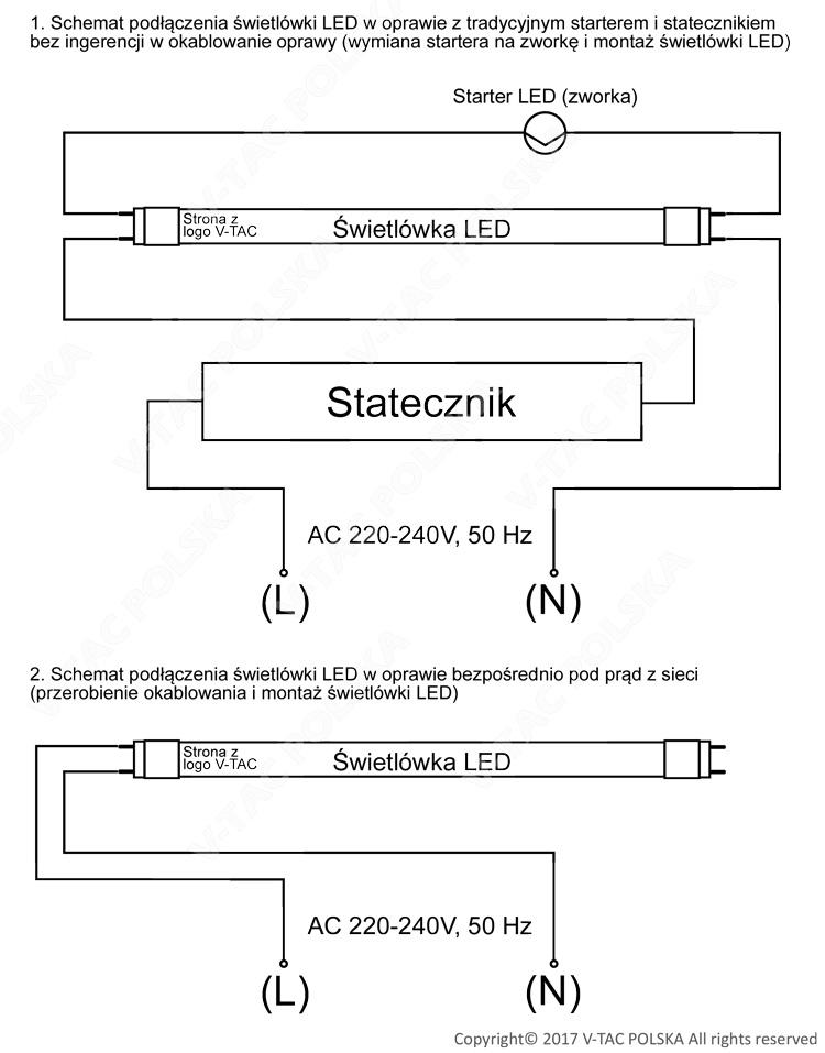 Schemat podłaczenia świetlówki LED V-TAC
