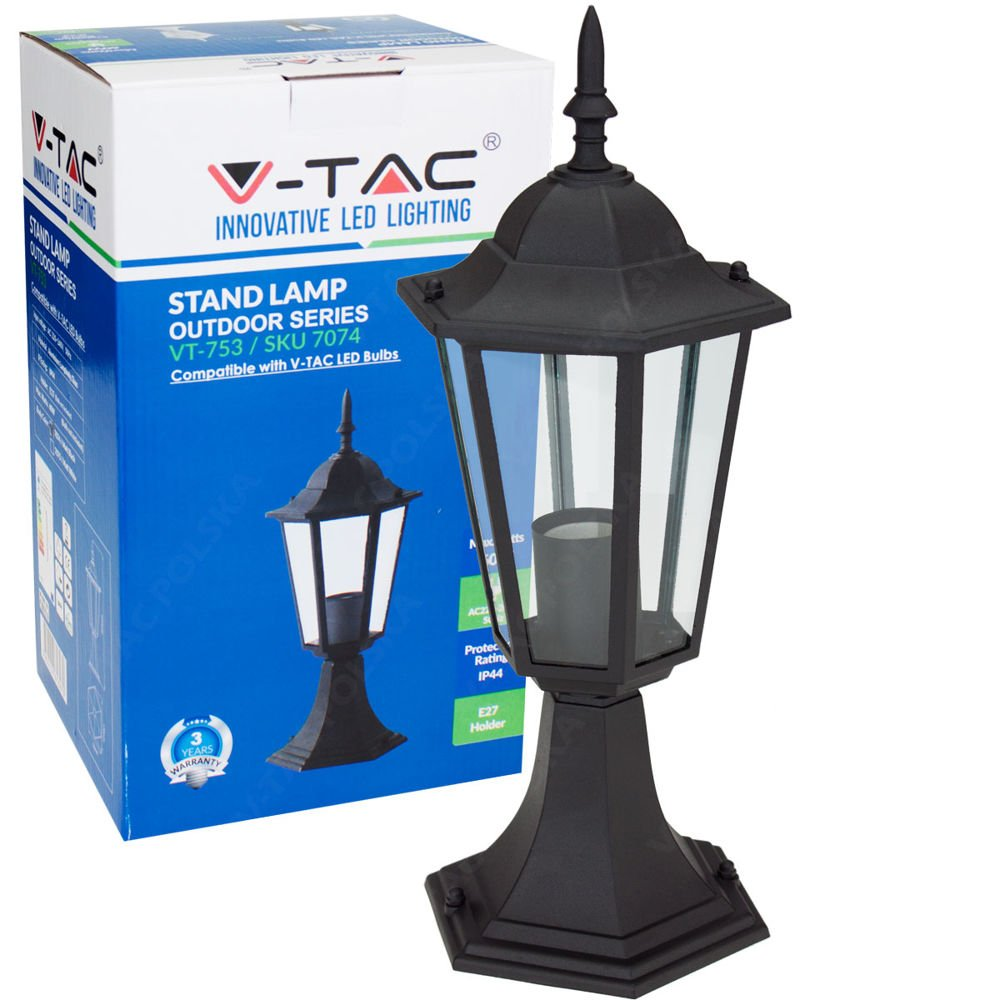 Stojąca Lampa Ogrodowa Pojedyncza Vt 753 Czarna Lampy Ogrodowe