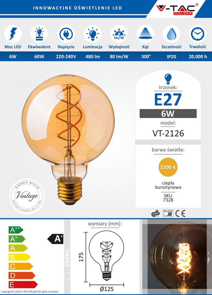 Cudowna Żarówka LED G125 6W E27 480 lm FILAMENT AMBER 2200K VT-2126 PR73